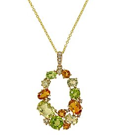 Effy® Peridot/Citrine/0.04 ct. t.w. Diamond Pendant Necklace in 14K Yellow Gold