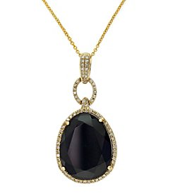Effy® Eclipse Collection Onyx & 0.29 ct. t.w. Diamond Pendant in 14K Yellow Gold