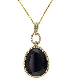 Effy® Onyx & 0.29 ct. t.w. Diamond Pendant Necklace in 14K Yellow Gold