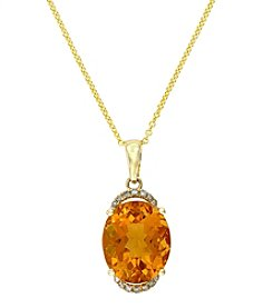 Effy® Citrine & 0.07 ct. t.w. Diamond Pendant Necklace in 14K Yellow Gold