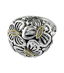 Effy® Balissima 0.04 ct. t.w. Diamond Floral Ball Ring in Sterling Silver/18K Gold