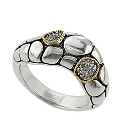 Effy® Balissima Collection 0.04 ct. t.w. Diamond Pebbled Band Ring in Sterling Silver/18K Gold