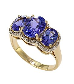 Effy® 3.37 ct. t.w. Tanzanite & 0.18 ct. t.w. Diamond Ring in 14K Yellow Gold