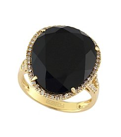 Effy® 0.27 ct. t.w. Diamond & Onyx Ring in 14K Gold