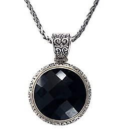 Effy® Balissima Onyx Facet Pendant Necklace in Sterling Silver/18K Gold