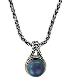Effy® Balissima Black Freshwater Pearl Pendant Necklace in Sterling Silver/18K Gold