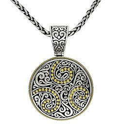 Effy® Balissima Round Carved Pendant Necklace in Sterling Silver/18K Gold