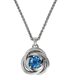 Effy® Balissima Blue Topaz Love Knot Pendant Necklace in Sterling Silver