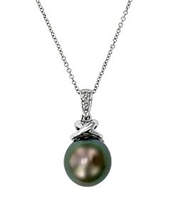 Effy® Tahitian Pearl & 0.02 ct. t.w. Diamond Pendant Necklace in 14K White Gold