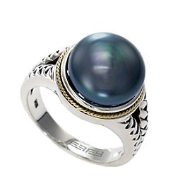 Effy® Balissima Black Freshwater Pearl Ring in Sterling Silver/18K Gold
