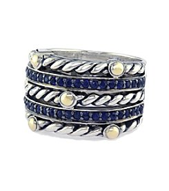 Effy® Balissima Sapphire Band Ring in Sterling Silver/18K Gold