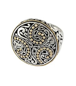 Effy® Balissima Round Carved Swirl Ring in Sterling Silver/18K Gold