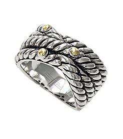 Effy® Balissima Collection Three Layer Cable Band Ring in Sterling Silver/18K Gold