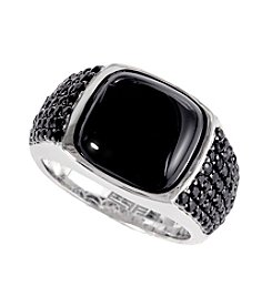 Effy® Balissima 11.98 ct. t.w. Onyx & Black Sapphire Men's Ring in Sterling Silver