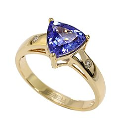 Effy® Tanzanite & 0.05 ct. t.w. Diamond Ring in 14K Yellow Gold