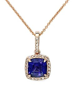 Effy® Manufactured Diffused Sapphire & 0.12 ct. t.w. Diamond Pendant Necklace in 14K Rose Gold