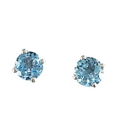 Effy® Round Blue Topaz Stud Earrings in 14K White Gold