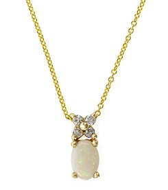 Effy® 0.10 ct. t.w. Diamond & 0.48 Opal ct. t.w. Pendant Necklace