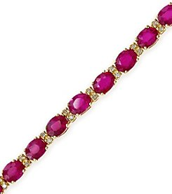 Effy® Lead Glass Filled Ruby & 0.25 ct. t.w. Diamond Tennis Bracelet in 14K Gold