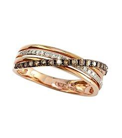Effy® 0.31 ct. t.w. Cognac/White Diamond Ring in 14K Rose Gold