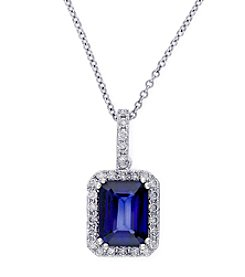 Effy® 0.23 ct. t.w. Diamond & Manufactured Diffused Sapphire Pendant Necklace in 14K White Gold