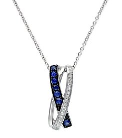 Effy® 0.19 ct. t.w. Sapphire & 0.07 ct. t.w. Diamond Pendant Necklace in 14K White Gold