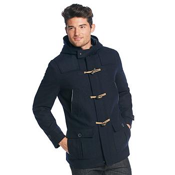 Nautica Wool Hooded Mens Coat