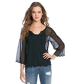 Jessica Simpson Nashville Flare Sleeve Peasant Top