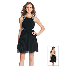 City Triangles® Pleated Chiffon Dress With Rhinestones
