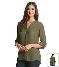 Notations® Solid Button Front Shirt