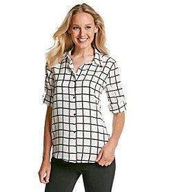Calvin Klein Windowpane Print Roll Sleeve Blouse