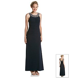 Cachet® Beaded Neck Long Dress