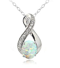 Designs by FMC Sterling Silver Created White Sapphire and Created Opal Oval Drop 18