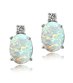 Designs by FMC Sterling Silver Created White Sapphire and Created Opal Oval Stud Post Earrings