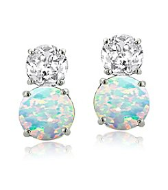 Designs by FMC Sterling Silver Created White Sapphire and Created Opal Round Stud Post Earrings