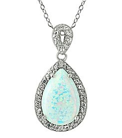 Designs by FMC Sterling Silver Teardrop Created Opal with Created White Sapphire Border 18