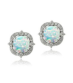 Designs by FMC Sterling Silver Round Created Opal with Created White Sapphire Border Stud Post Earrings