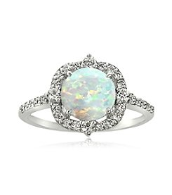 Designs by FMC Sterling Silver Round Created Opal with Created White Sapphire Border Ring