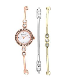 Anne Klein® Tri-Color Crystal Bangle Watch Set
