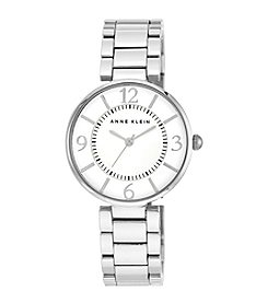 Anne Klein® Silvertone Bracelet Watch with Silver Sunray Dial