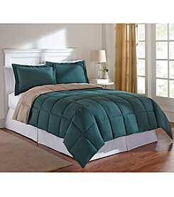 LivingQuarters Reversible Microfiber Down-Alternative Trekking Green Comforter or Shams