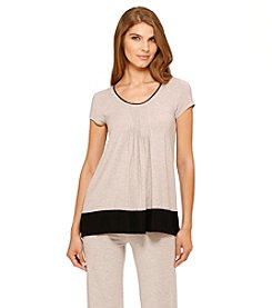 DKNY® Knit Short Sleeve Top - Almond Heather