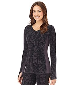 Cuddl Duds® Stretch Fleece V-Neck Top - Charcoal Gray Scroll