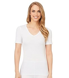 Cuddl Duds® Softwear with Lace Short Sleeve V-Neck Top