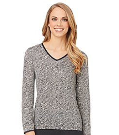 Cuddl Duds® Softwear with Lace Long Sleeve V-Neck Top - Cheetah