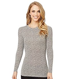 Cuddl Duds® Softwear with Stretch Crewneck Top - Ivory/Black Cheetah