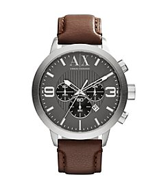 A|X Armani Exchange Brown Leather Watch with Gunmetal Dial and White Accents