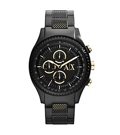 A|X Armani Exchange Black IP Watch with IP Goldtone Pushers
