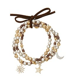 Nine West Vintage America Collection® Set of Three Tri-Tone Stretch Bracelets with Metal Charms