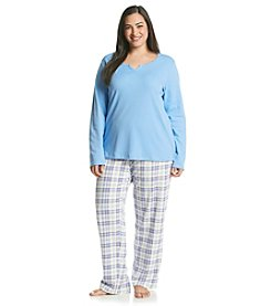 Intimate Essentials® Plus Size Knit Combo Pajama Set - Blue Plaid
